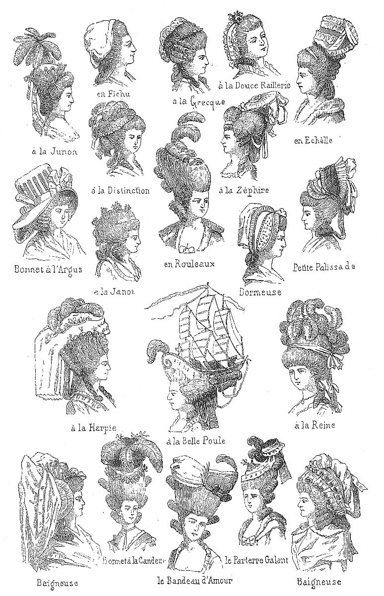 Found this wonderful drawing of over a dozen different 18th century hairstyles. It includes many that might have been warn by Georgina, Duchess of Devonshire. You must click to see the up-do with t...