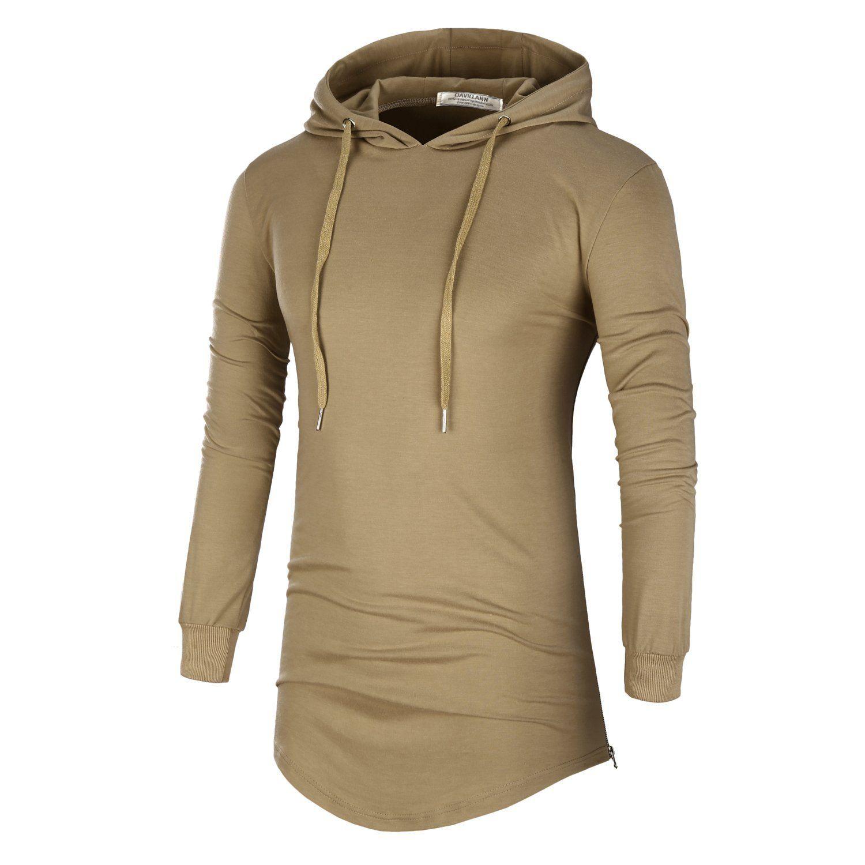 HIG Men/'s Long Line Hoodie Pullover Fleece w// Side Zipper Hip-hop Hooded Sweater