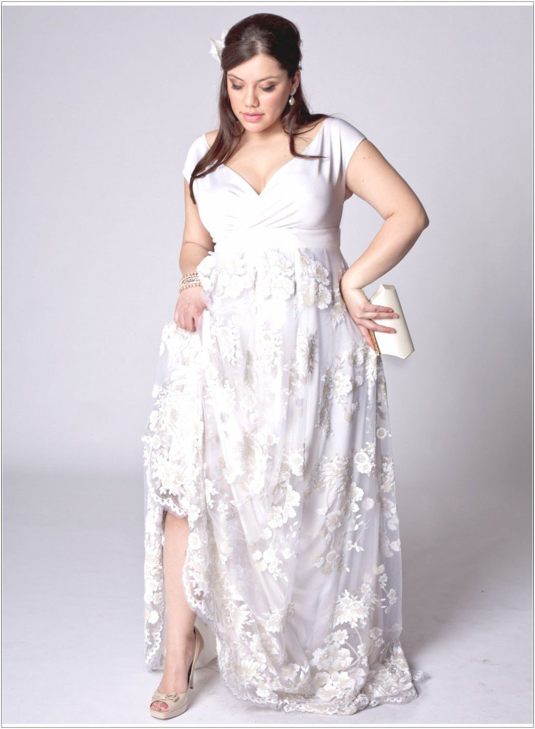 Plus Size Wedding Dresses Casual With Sleeves Short Weddng White Color Dress Inspiration For Women