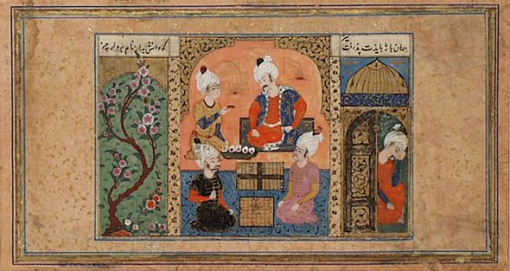 the vizier buzurghmihr showing the game of chess to king khusraw anushirwan page from a manuscript of the shahnama book of kings turkey turkish