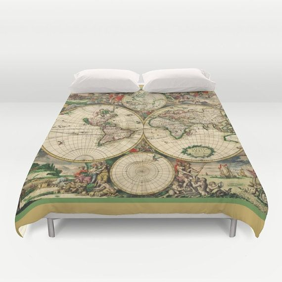 Old world map duvet cover doublefull queen king cover blanket old world map duvet cover doublefull queen king cover blanket bedding bed home and living gumiabroncs Choice Image