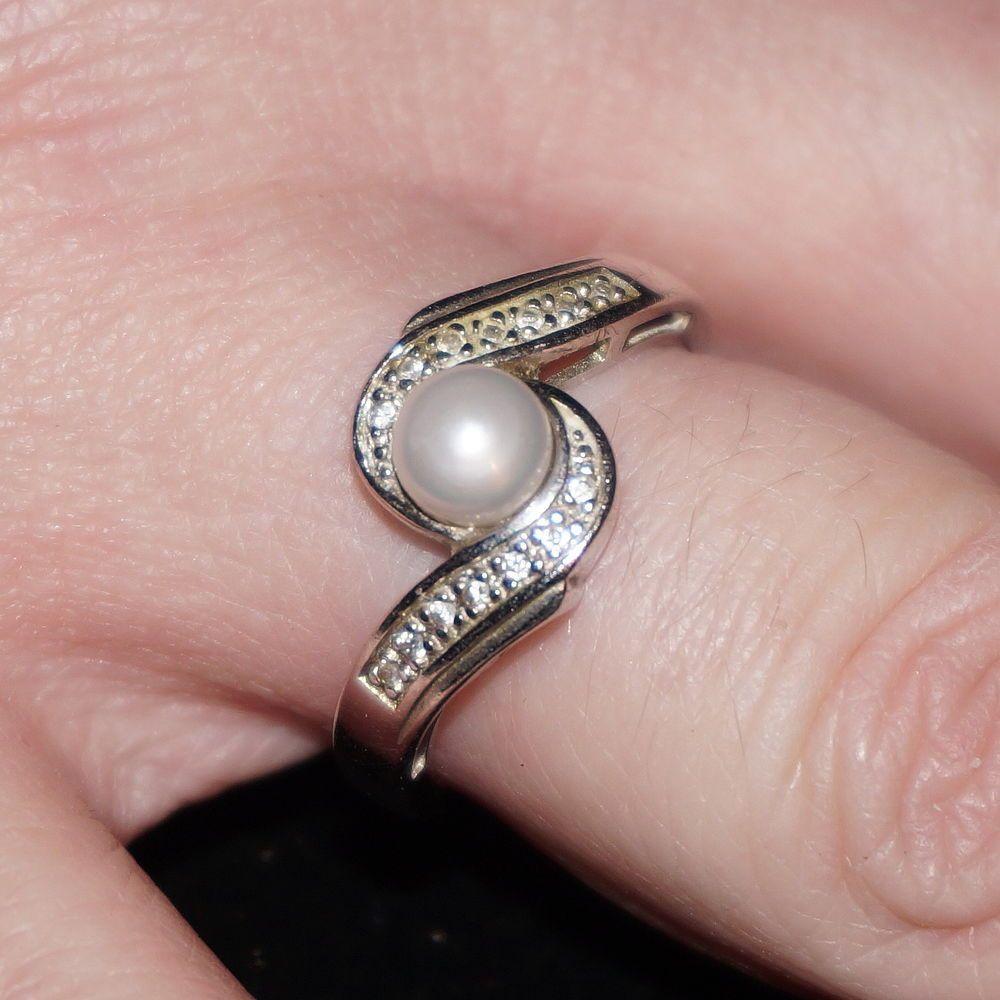 Ross Simons Sterling 925 Pearl Diamond Bypass Swirl Engagement Ring ...