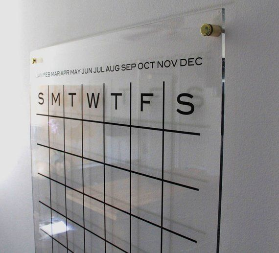 Dtbd Pure Wall Calendar Grid Large Lucite White Board Dry