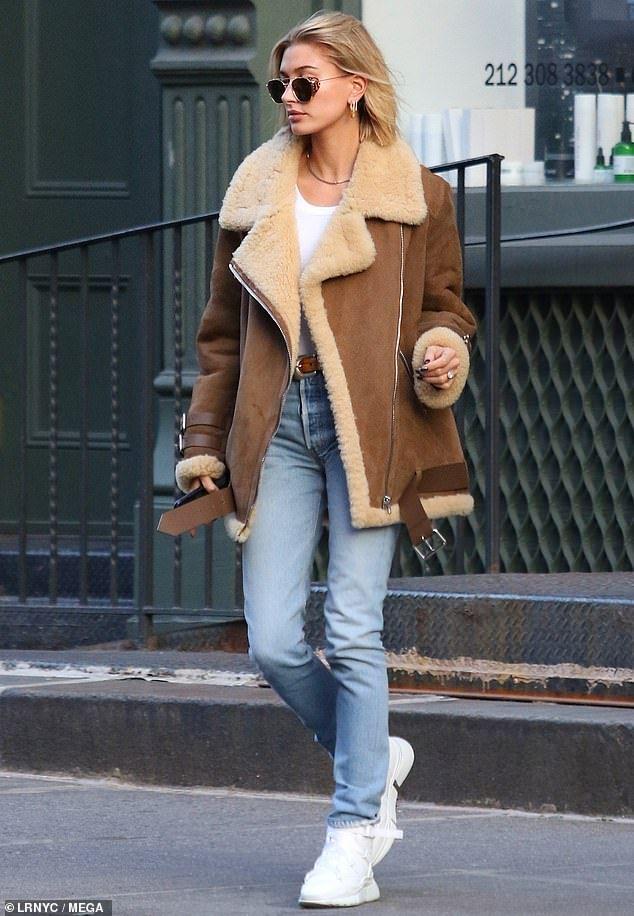 Hailey Baldwin bundles up in fleece in NYC