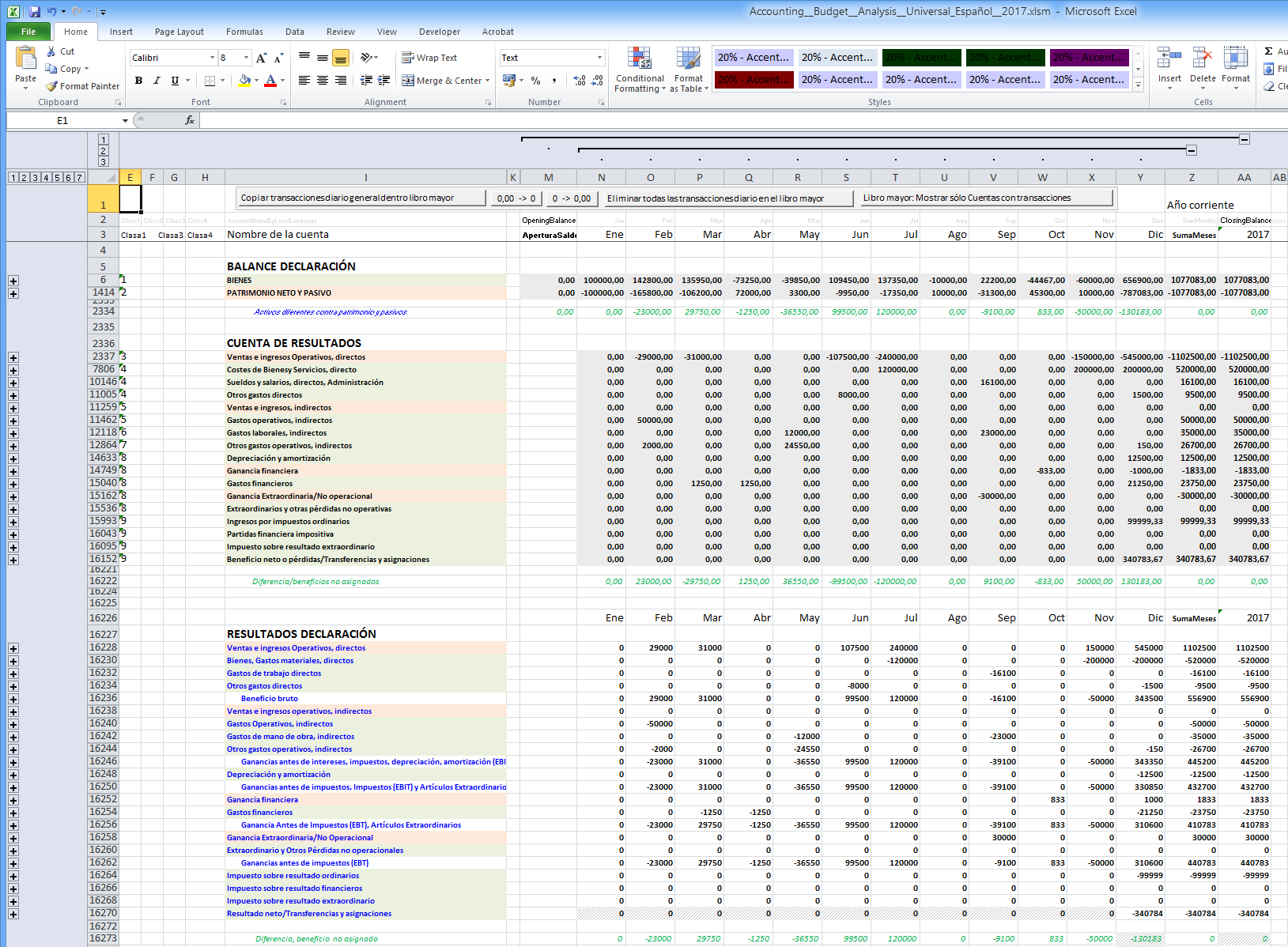 Excel Accounting Budgetysis