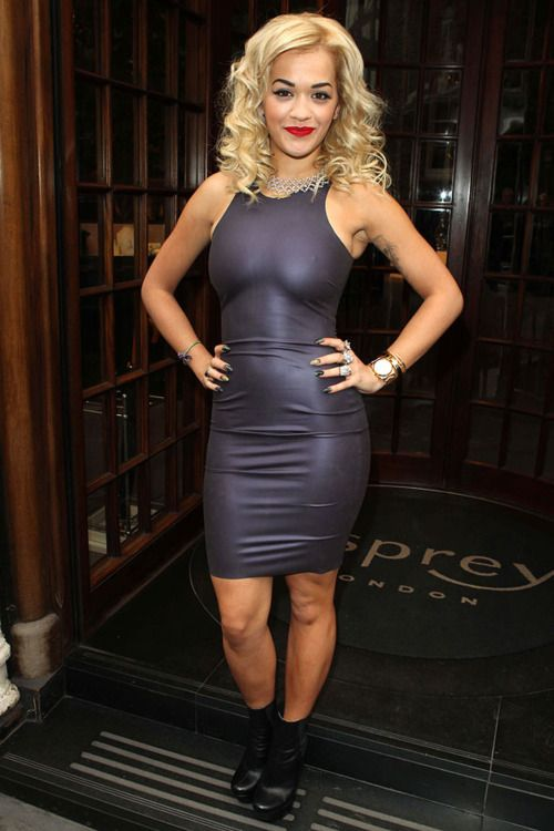 a5a6a820a1d3 Rita Ora in a Kim West Rubber Latex Dress.
