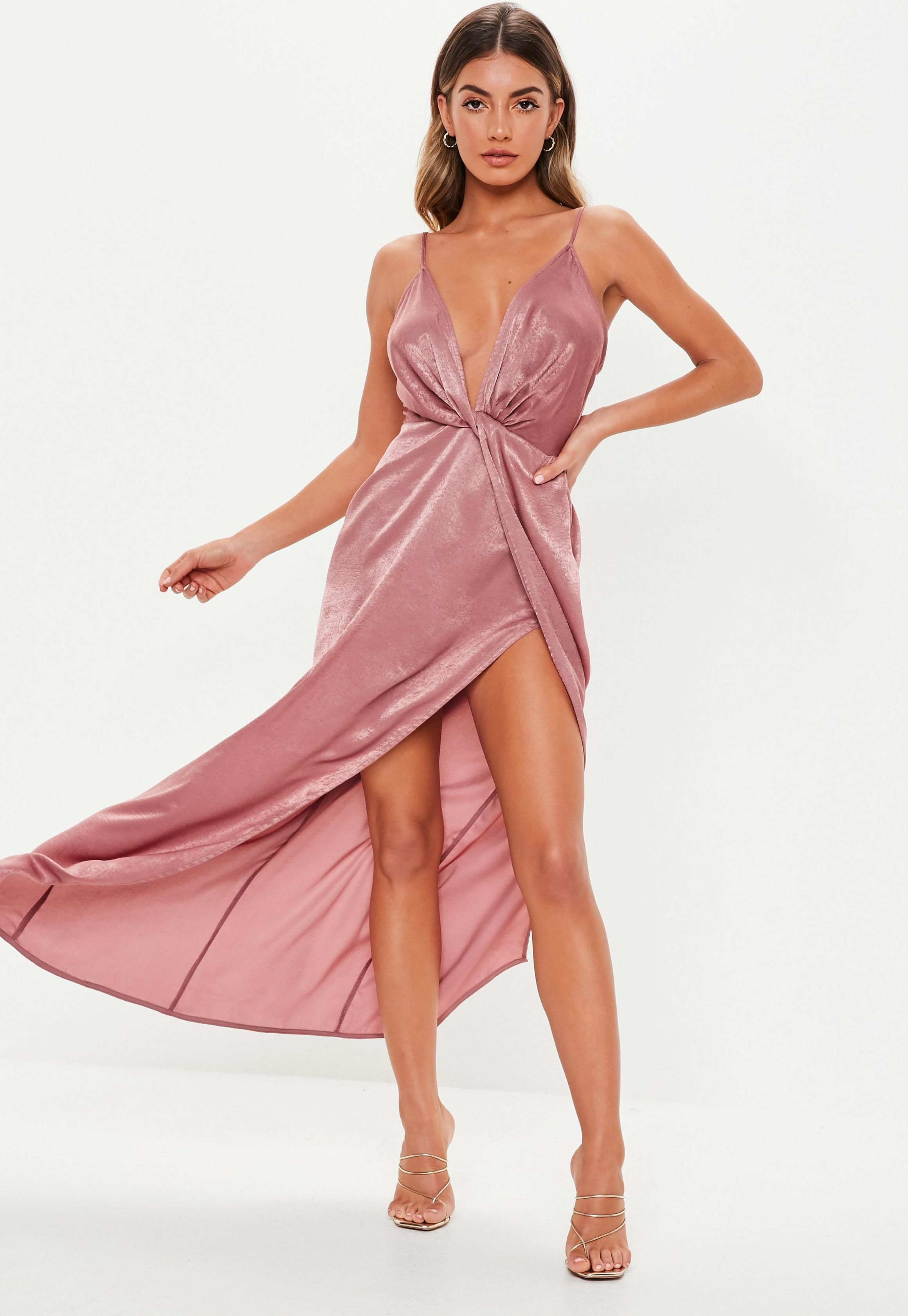 b0d825de01 Petite Blush Satin Twist Cami Maxi Dress in 2019