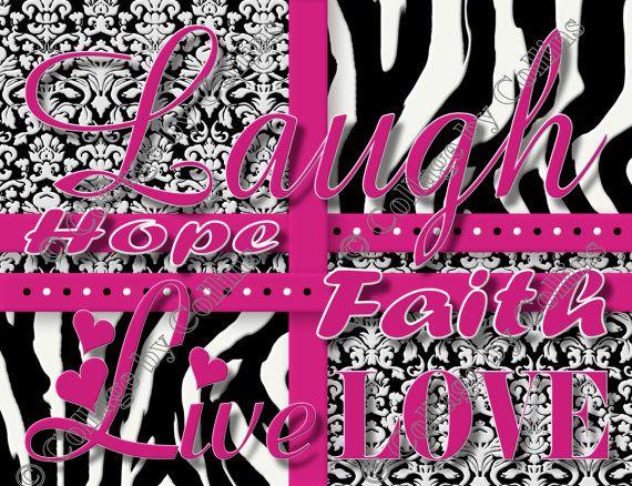 PINK Zebra Print Girls Room Decor Wall Art By Collagebycollins, $14.99