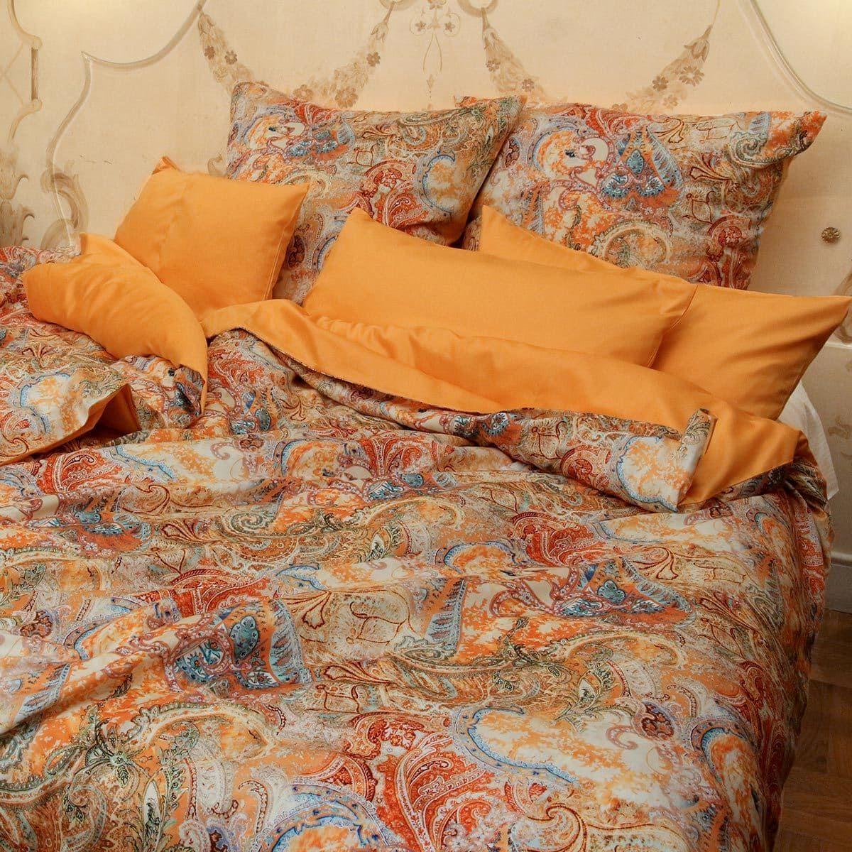 Momm Mako Satin Wendebettwasche Kochi Bunt Mandarin Bett