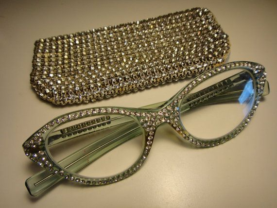 7cad7f1869bc5 A girl can never have too much bling! Vintage 1950 s Encrusted Rhinestone  Cat s Eye glasses + case.