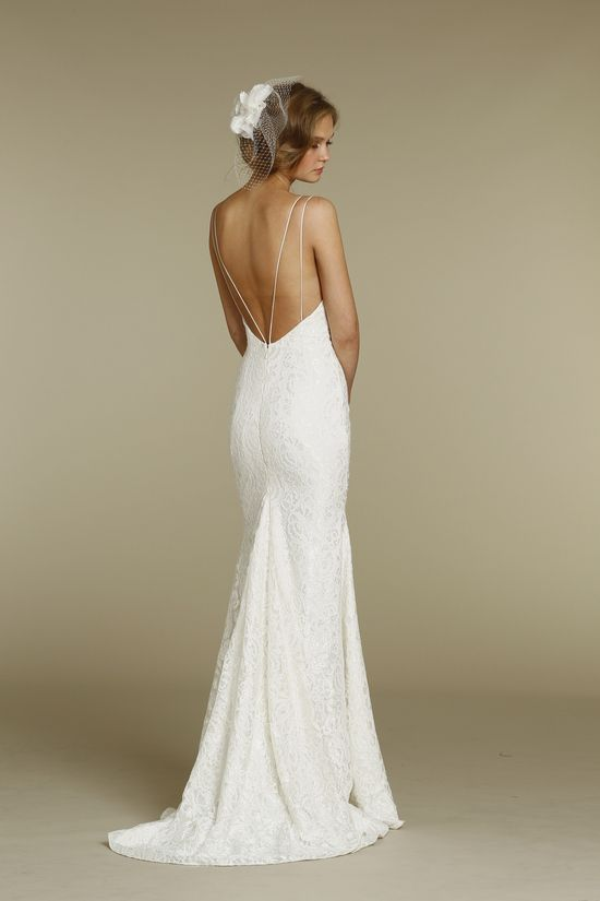 Gorgeous a-line wedding gown with spaghetti straps and a low back ...