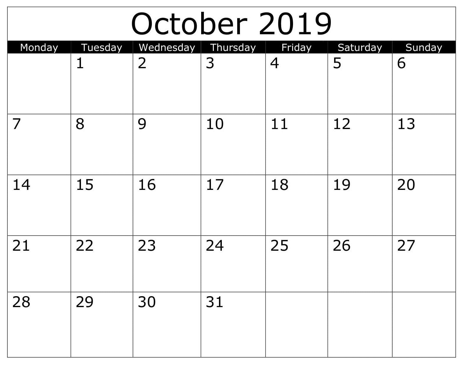 October Calendar 2019 Template Excel Calendar 2019 Template