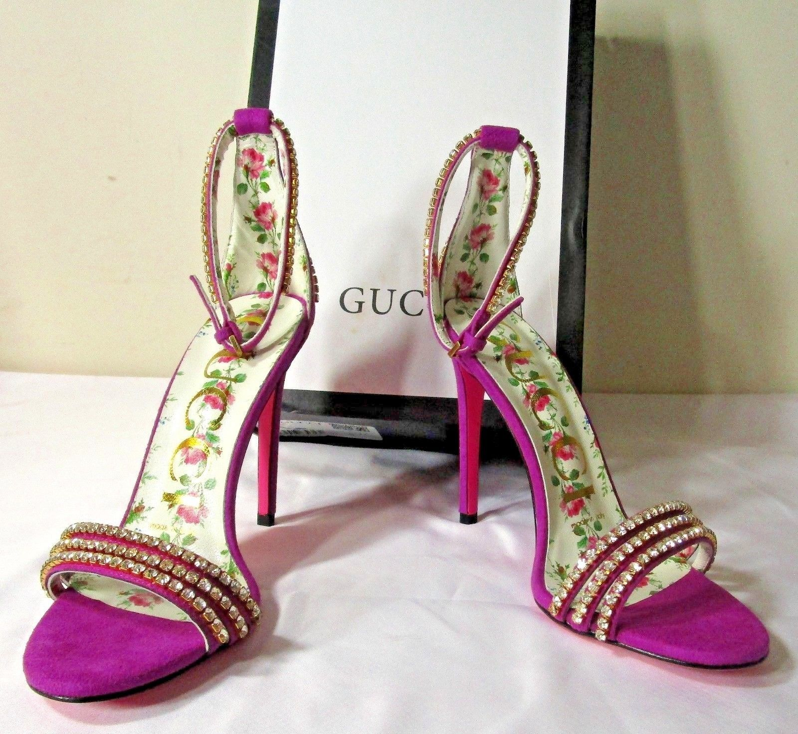 c44fa89f6 GUCCI 115 Women's Crystal Embellished Purple Suede Ankle Strap Sandals 8/38  | eBay