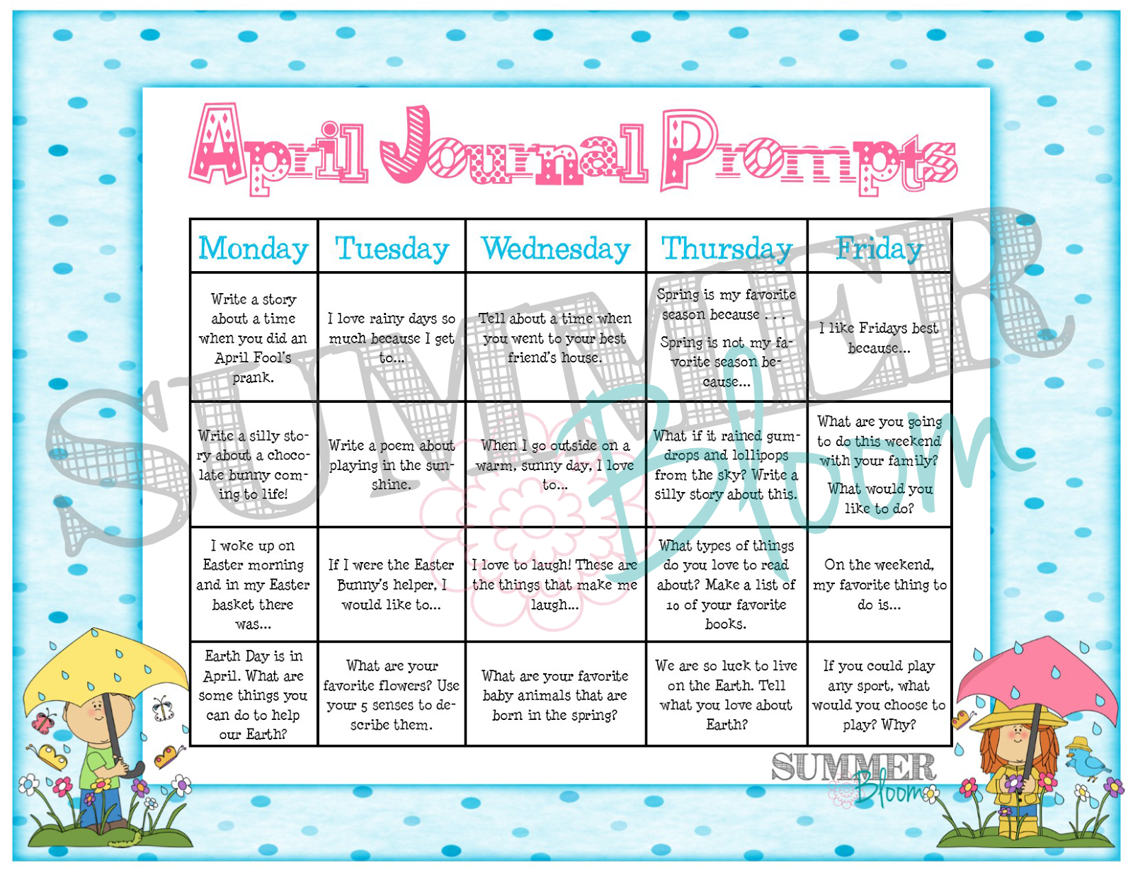 April Amp May Journal Prompt Calendar Freebie From