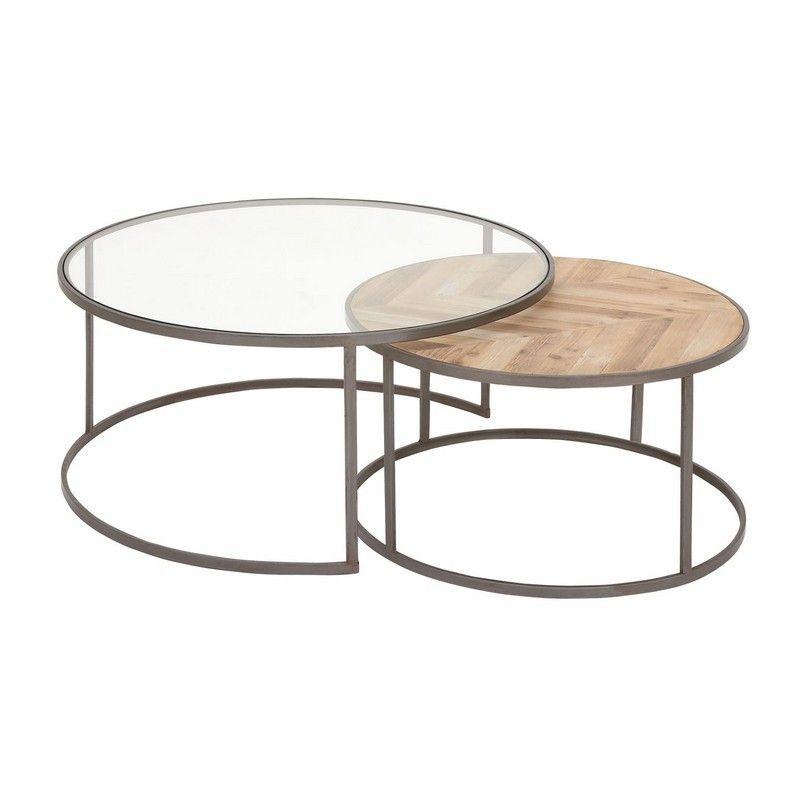 Uma Metal Wood Glass Coffe Table Set Of 2 27 36 D 44391 Uma Metal Wood Glas Nesting Coffee Tables Round Coffee Table Sets Round Nesting Coffee Tables