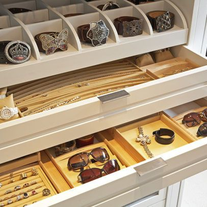 It doesn't take much for closets to turn into cluttered chaos. Storage for jewelry, watches, sunglasses, in shallow ...