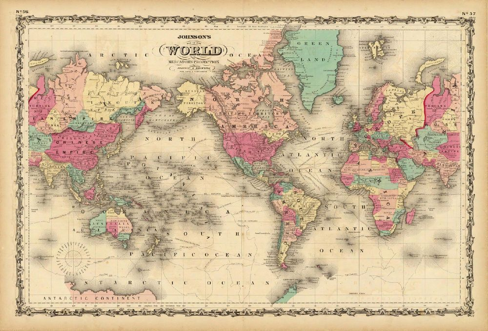 THE OLD WORLD Vintage World Map Reproduction Rolled CANVAS PRINT