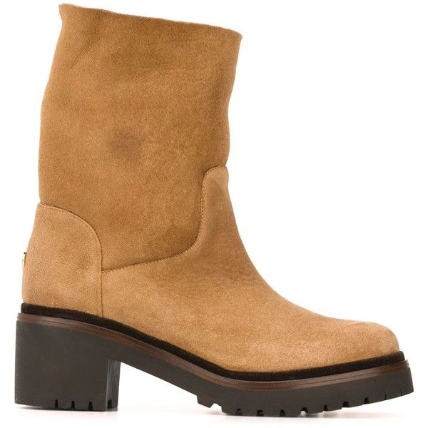Moncler 'Cassandre' boots ($775) ❤ liked on Polyvore featuring shoes, boots, brown, suede shoes, rubber sole boots, rubber sole shoes, mid heel shoes e brown suede shoes