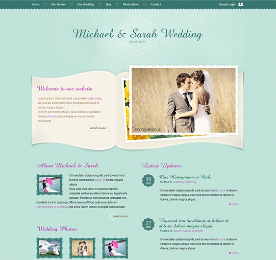 This wedding website template offers multiple page layouts ...
