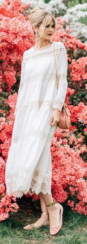 #summer #trending #outfits | White Romantic Maxi Dress
