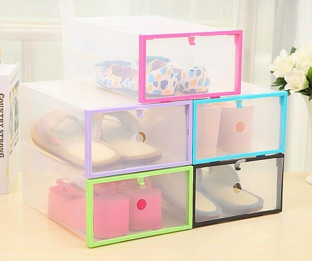 6pcs Set High Quality Foldable Clear Plastic Shoe Storage Box