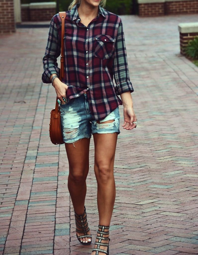 Flannel shirts and shorts  Love this checked shirt  Fashion  Pinterest  Clothes Flannels