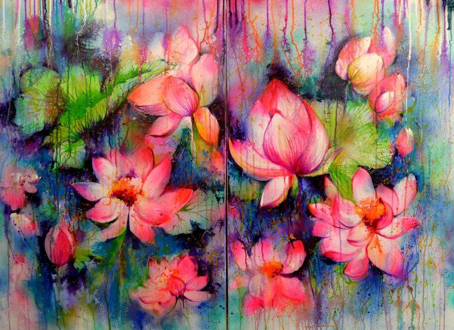 Abstract lotus flowers bloom in the rain by soos roxana