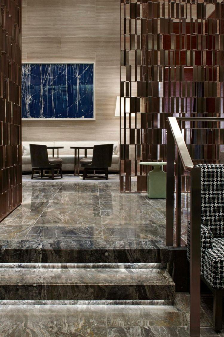 Marmor Bodenbelag Metall Trennwand Moderne Inneneinrichtung