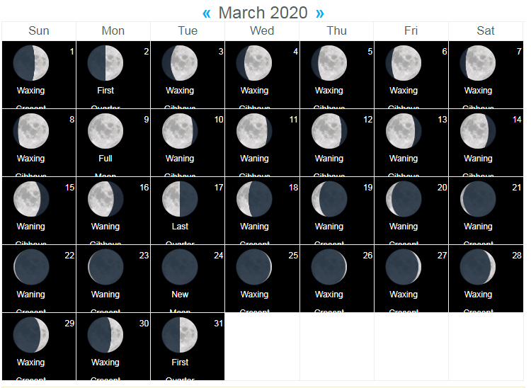 Free Printable March 2020 Moon Phases Calendar in 2020