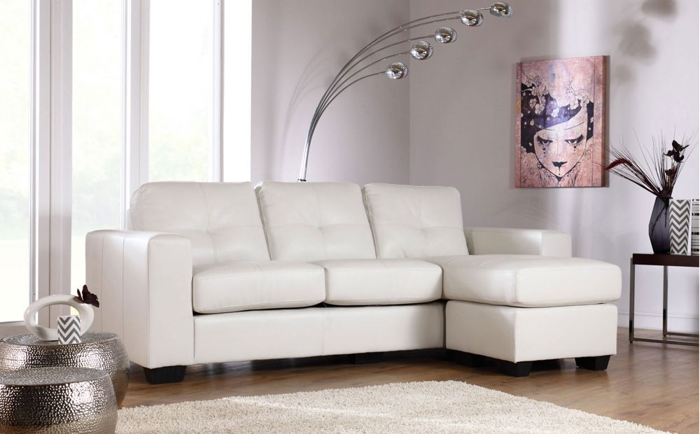 Rio Ivory Leather L Shape Corner Sofa | New home uk | Leather corner ...