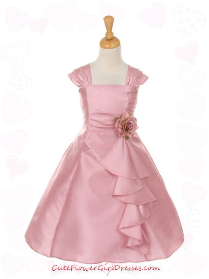 Dusty Rose Elegant Ruffle Taffeta with Corsage Girl Dress | Olivia ...