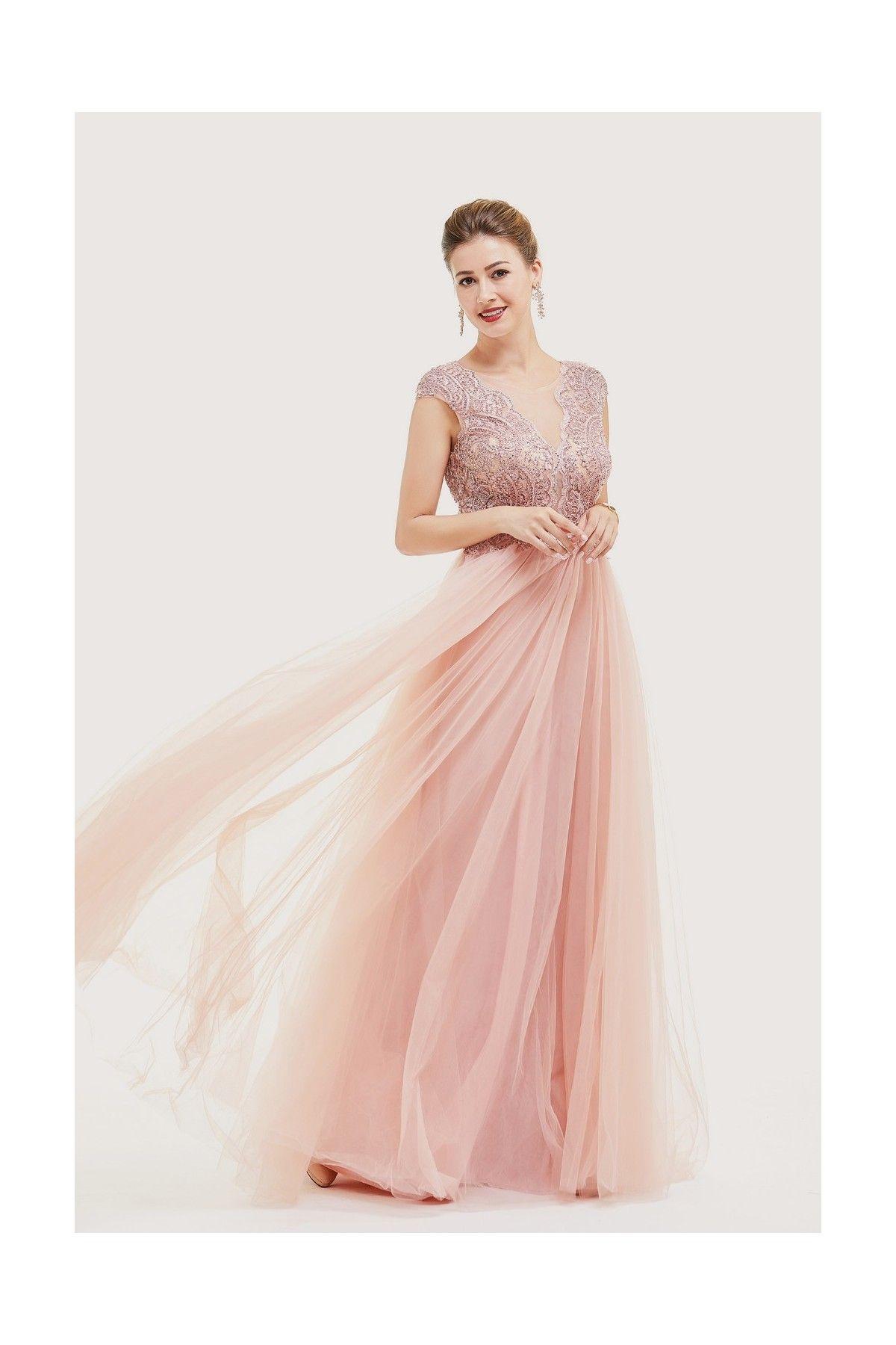 9f3cfa6f1aa Robe longue rose poudré