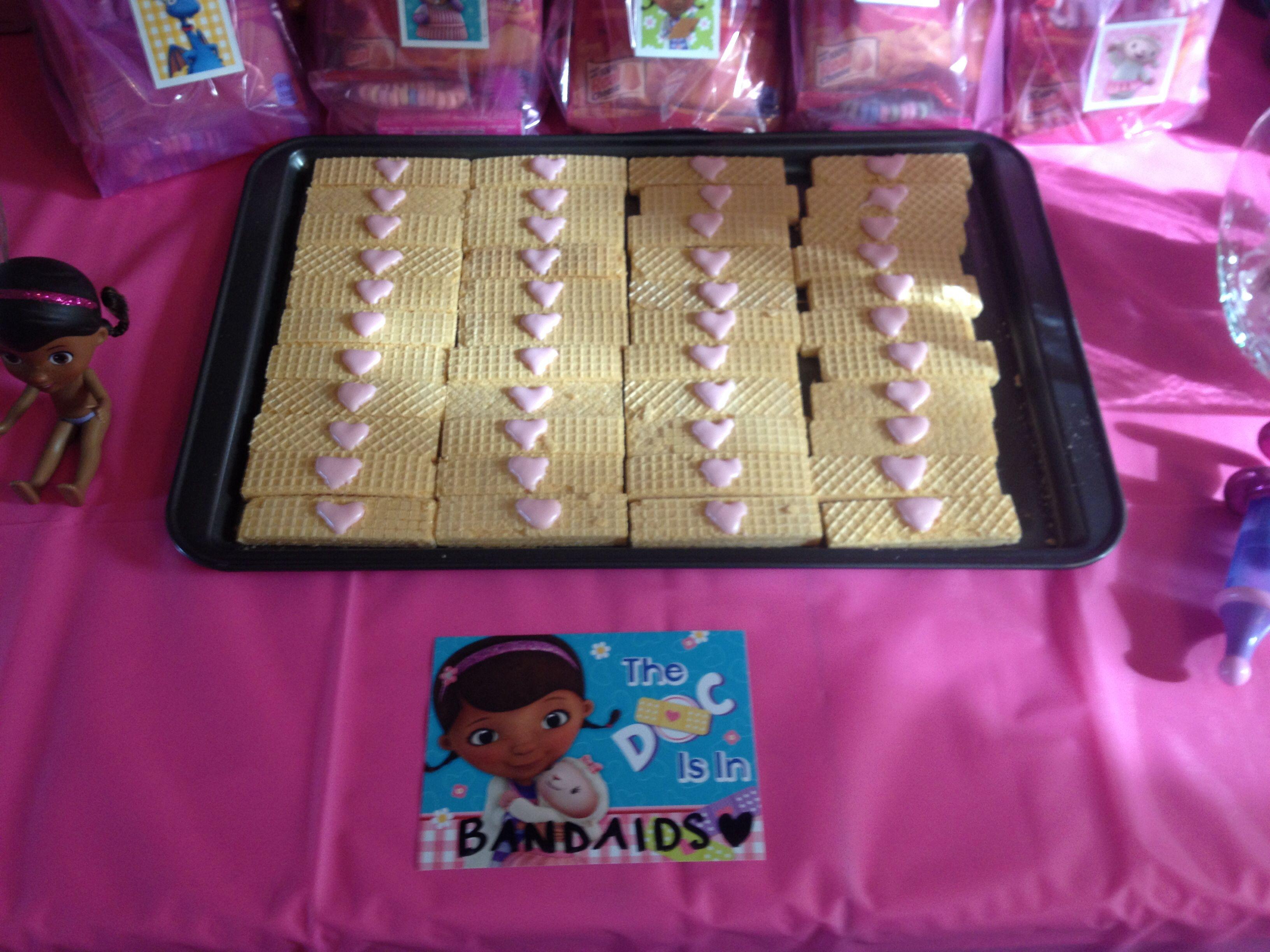 Doc mcstuffins bandages doc mcstuffins party ideas on pinterest doc - Birthday Party Ideas Doc Mcstuffins Vanilla Wafer Bandaids