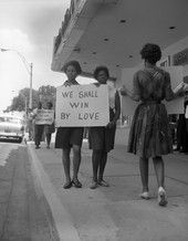 Demonstration in front of the Florida Theatre in Tallahassee.