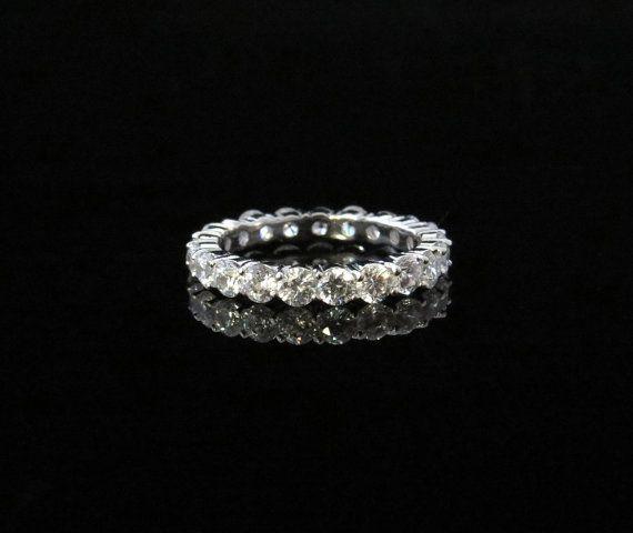 2 Carat Eternity Cushion Set Wedding Band Round 3mm Engagement