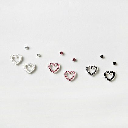 Crystal Heart And Dot Magnetic Earrings Set Of 3 Claire S