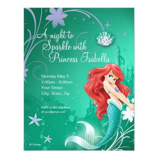 "Ariel Birthday Invitation 4.25"" X 5.5"" Invitation Card"