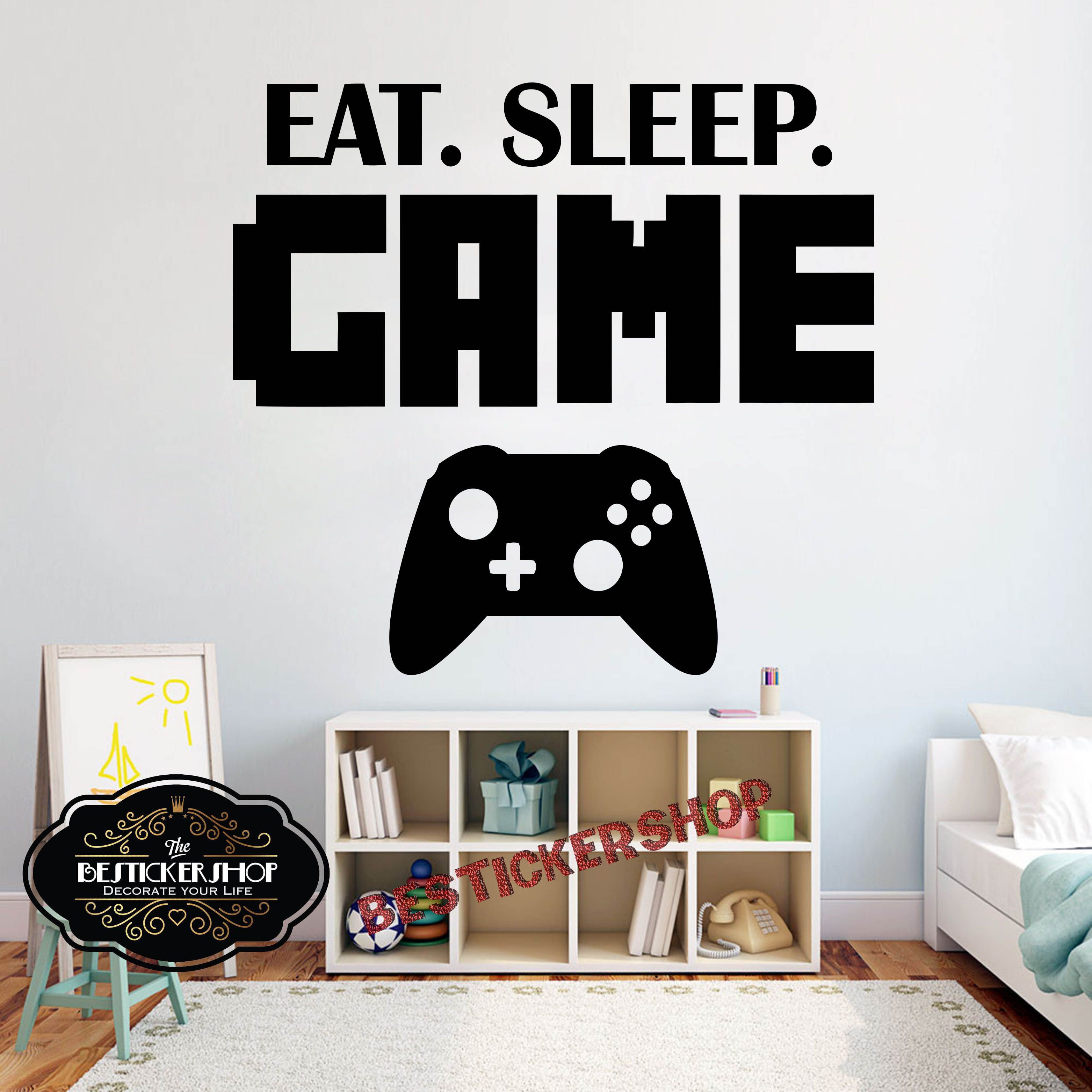 Gamer Wall Decal Eat Sleep Game Controller Video Game Wall Etsy Wall Decals Vinyl Wall Art Decals Vinyl Wall Art Bedroom