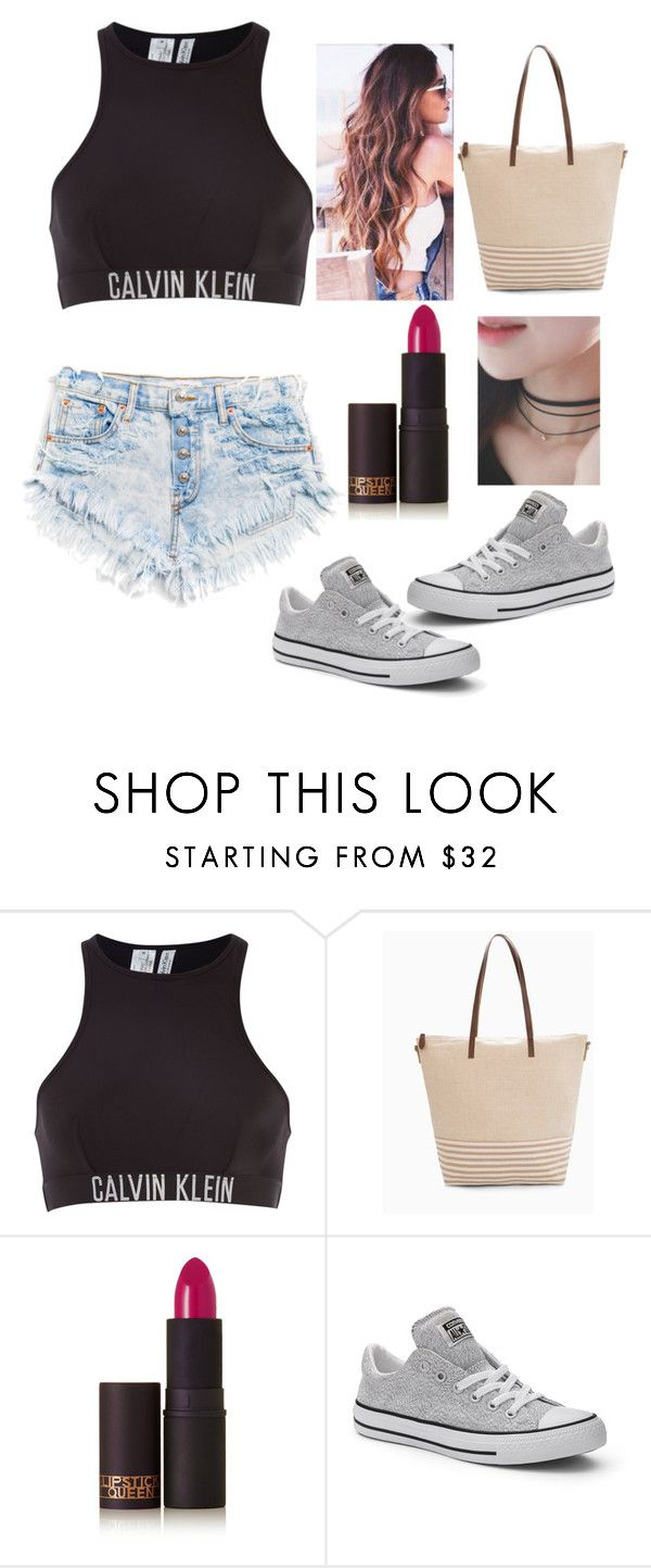 """""""Boardwalk"""" by barv ❤ liked on Polyvore featuring Calvin Klein, MANGO, Lipstick Queen, Converse and kitsch island"""
