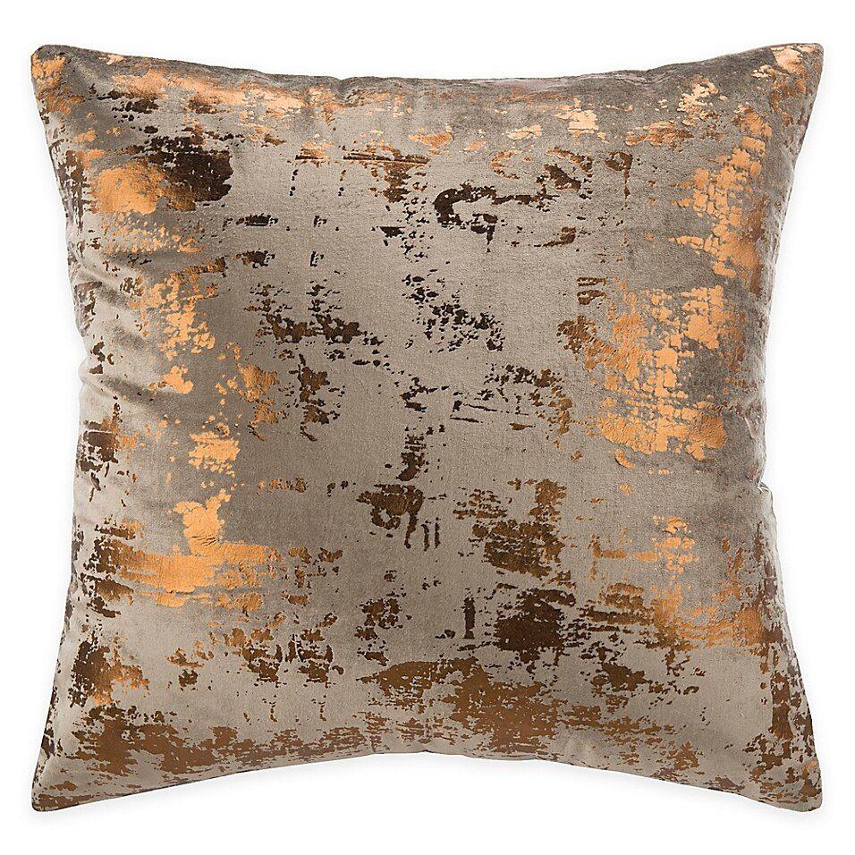 Safavieh Edmee 20 Square Pillow In Brown Copper Metallic Throw Pillow Metallic Pillow Throw Pillows