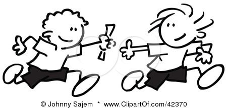 Google Image Result For Http Images Clipartof Com Small 42370 Clipart Illustration Of Black And White Stick Boys Relay Races Black And White Character Design
