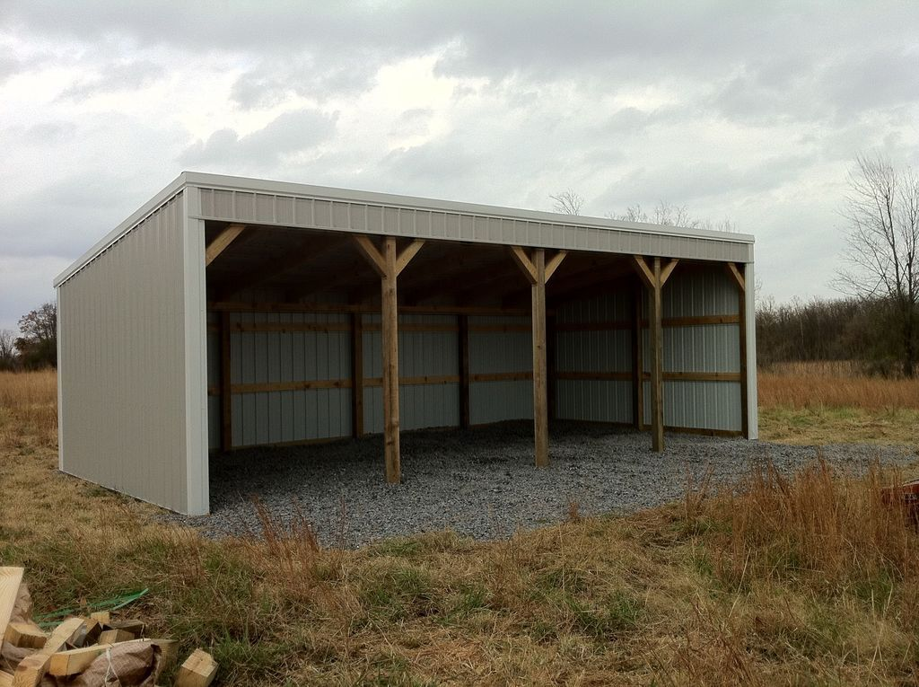 Pole barn 12x40 loafing shed material list building plans for Wood pole barn plans free