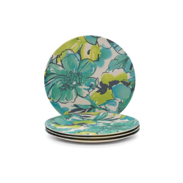 4pc Outdoor Tropical Floral Plates Floral Plates Floral Melamine Outdoor Dinnerware