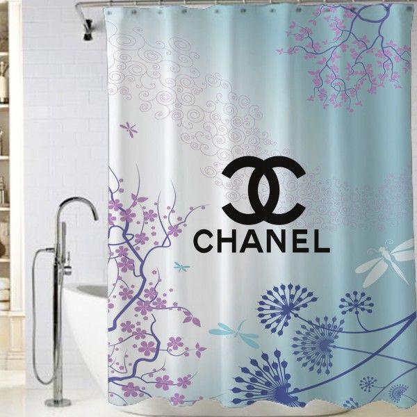 Chanel Art Vector Logo Blue Shower Curtain Shower Curtain Cheap