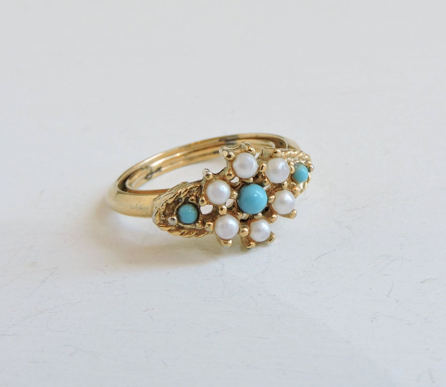 Vintage Signed Avon Ring Glass Pearl Ring Faux Turquoise