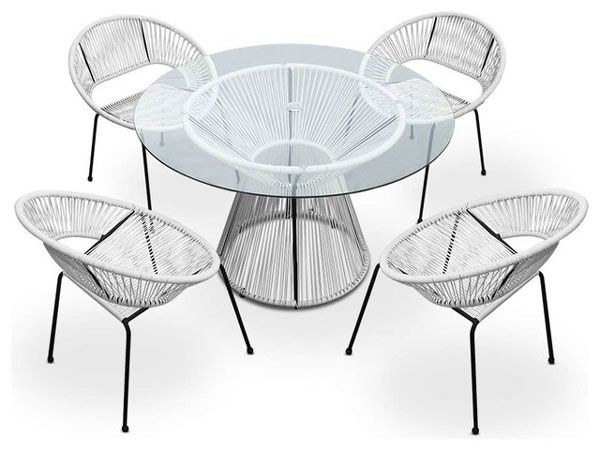 The 5 Pc Acapulco Outdoor Dining Set is made of the same synthetic resin  wicker materialsWhite Outdoor Wicker Furniture   20 Sets to Choose From    Outdoor  . Outdoor Dining Chairs Only. Home Design Ideas