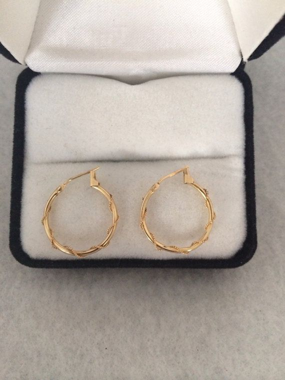 Lovely 14K Fine Yellow Gold Hoop Earrings with a by TrendsCouture