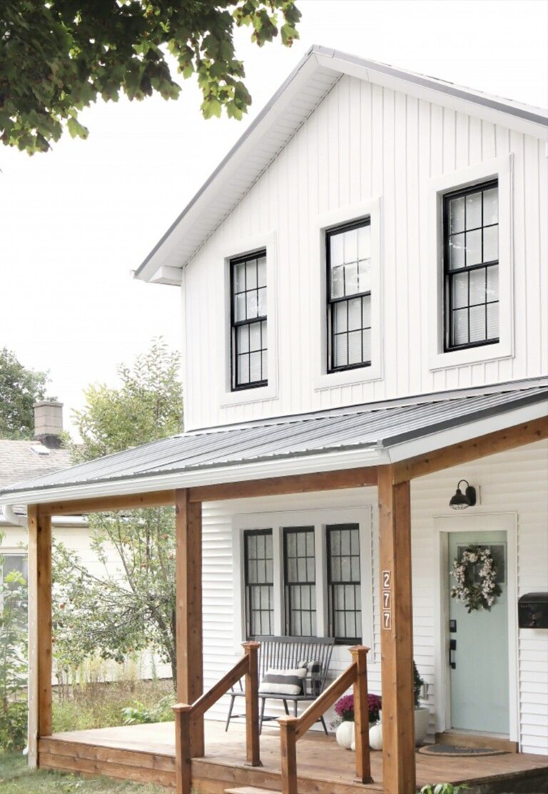Front Redo White House Black Windows No Shutters Metal Roof Natural Wood Porch Post White Exterior Houses Mountain Home Exterior Modern Farmhouse Exterior