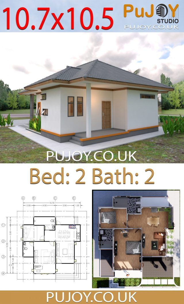 Pujoy Studio One Story House Plans 10 7x10 5 With 2 Bedrooms Hip Roof One Story Homes Garage House Plans Story House