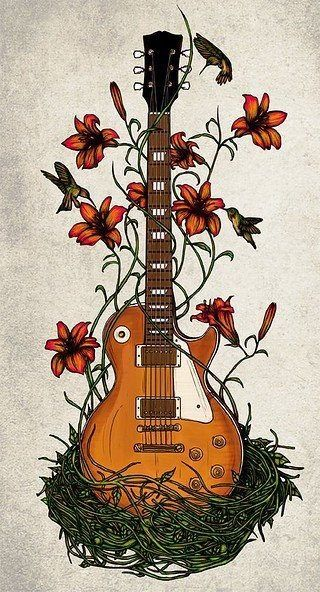 Would Be So Cute On A Thigh Or One Side Of The Back Guitar Art Guitar Illustration Guitar Drawing